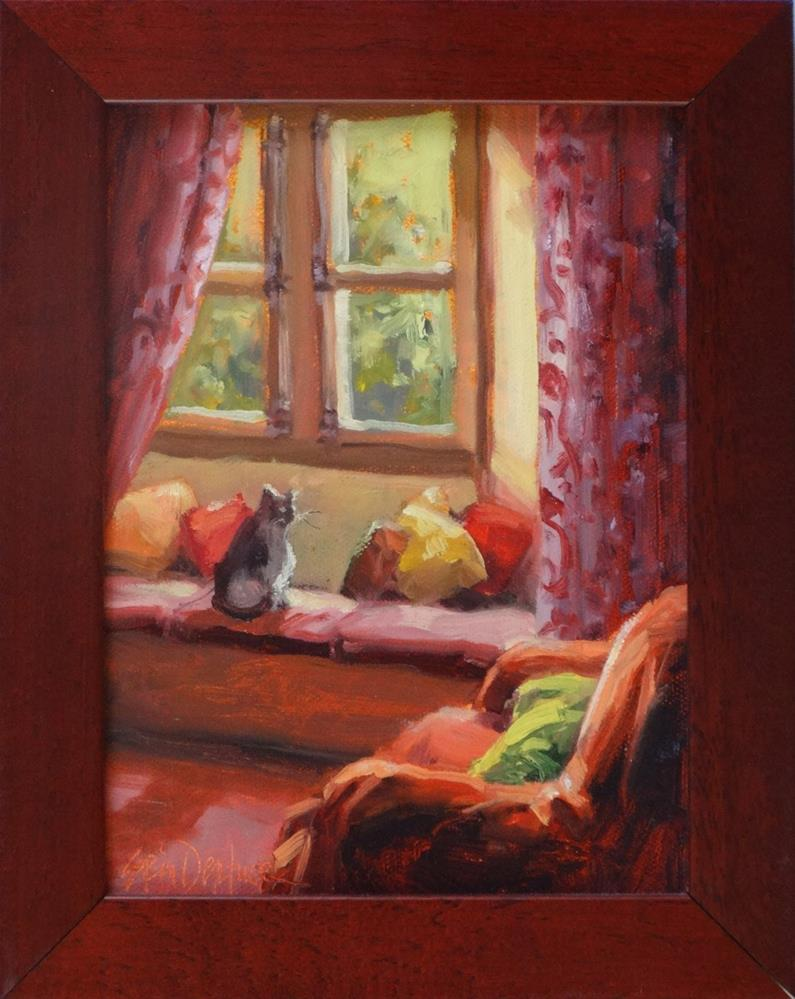 """Reading Room in Red"" original fine art by Erin Dertner"