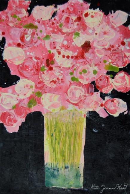 """Pink cottage chic floral painting No 190"" original fine art by Katie Jeanne Wood"