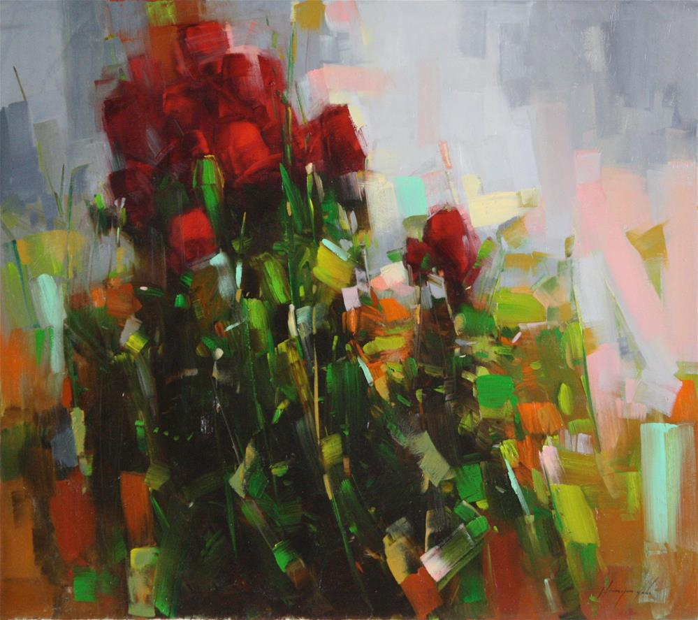 """ABSTRACT ROSES ORIGINAL OIL PAINTING"" original fine art by V Yeremyan"