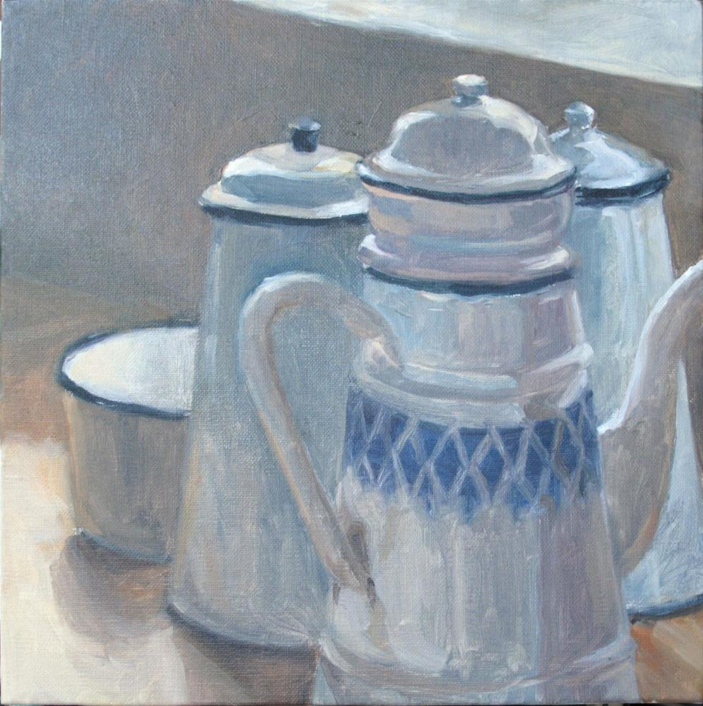"""Wendy's Coffee Pots"" original fine art by Myriam Kin-Yee"