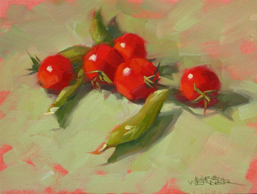 """Snap Peas & Tomatoes"" original fine art by Karen Werner"