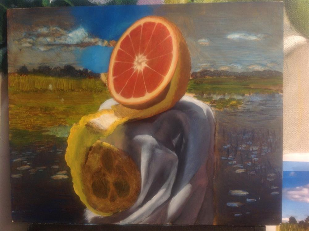 """""Golden Orange by the Sea"" 8 x 10 inches oil"" original fine art by Paulo Jimenez"