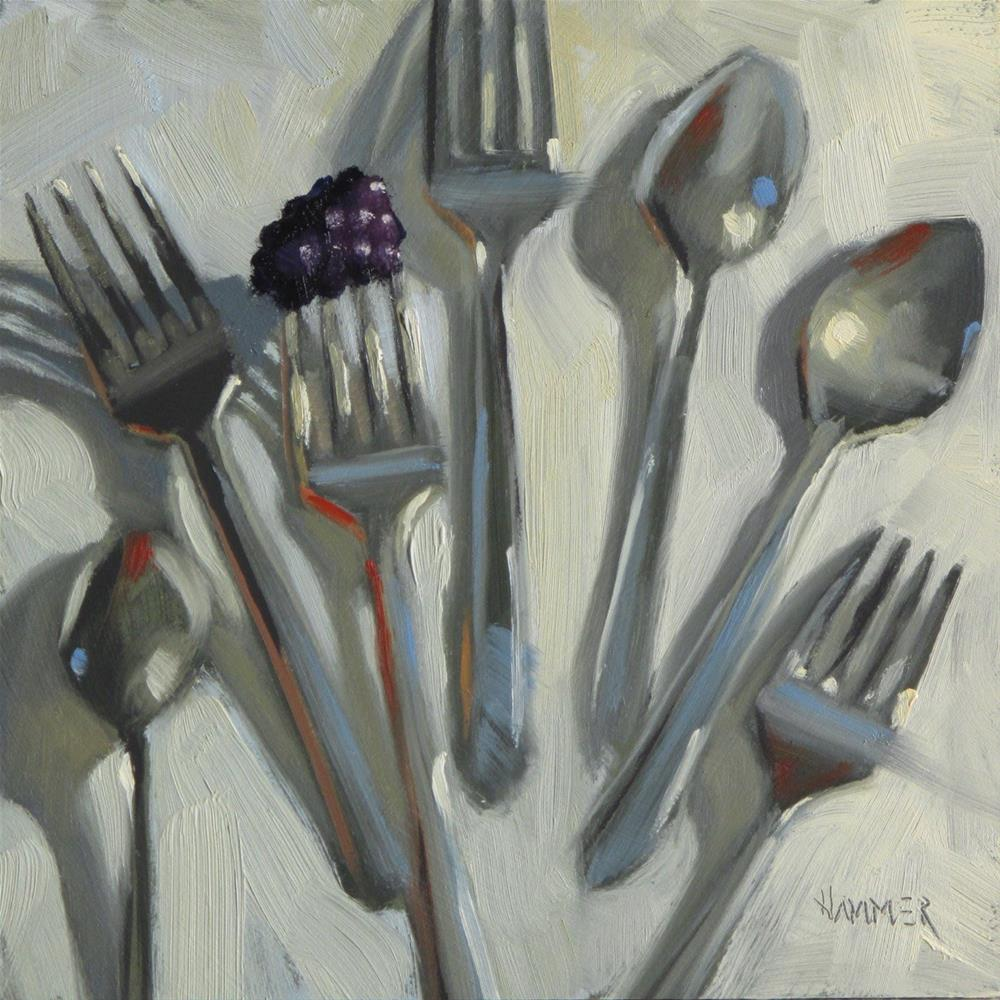 """Silverware toss  6 x 6  oil"" original fine art by Claudia Hammer"