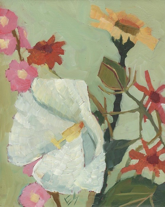"""Hibiscus and Other Flowers"" original fine art by Elizabeth See"