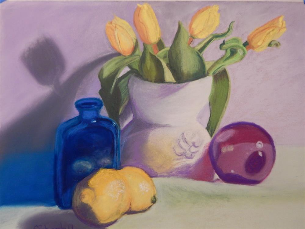 """""""Still Life with Yellow Tulips and Lemons"""" original fine art by Elaine Shortall"""
