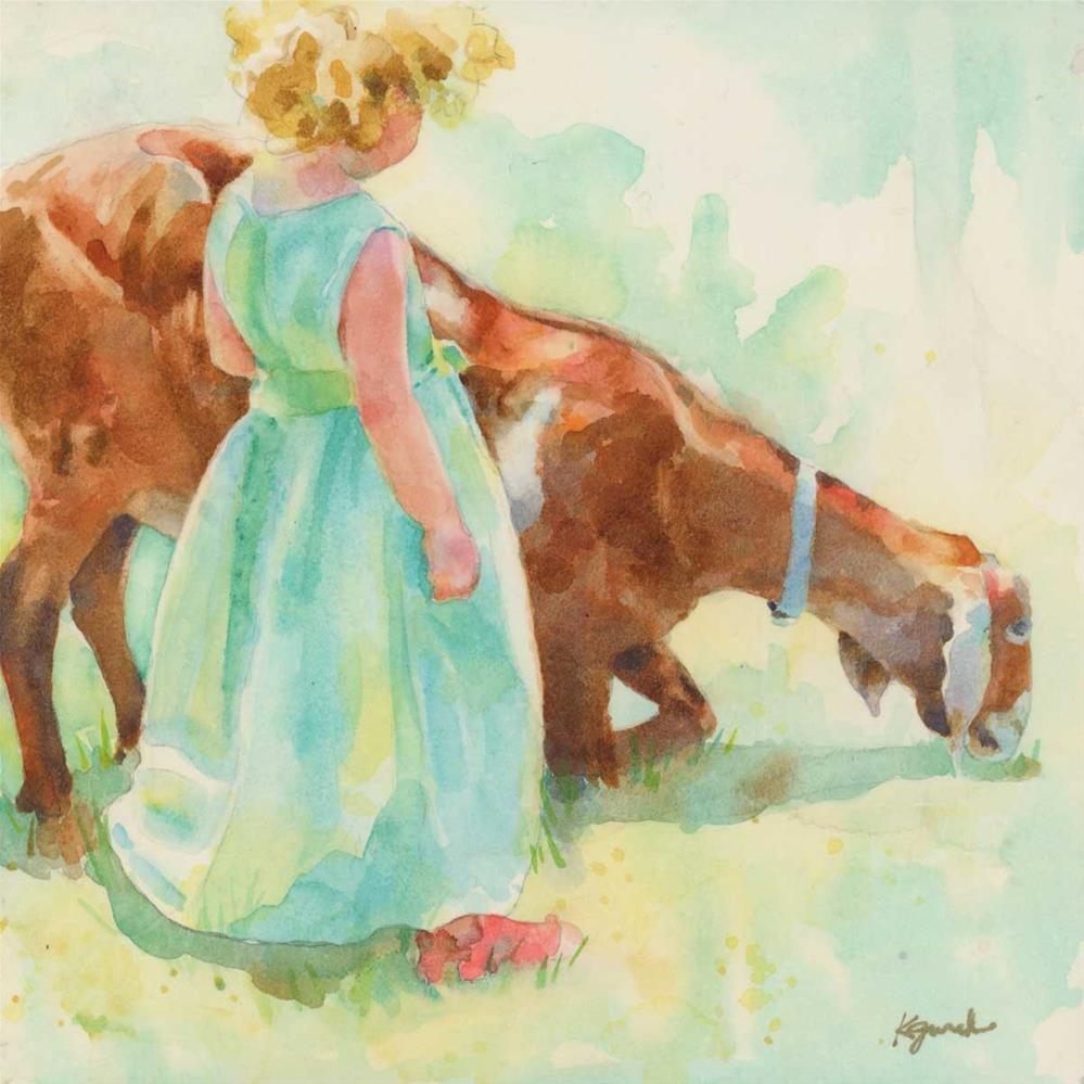 """Little Green Dress"" original fine art by Kathy Jurek"