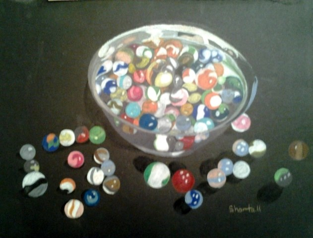 """Bowlful of Marbles (Framed)"" original fine art by Elaine Shortall"