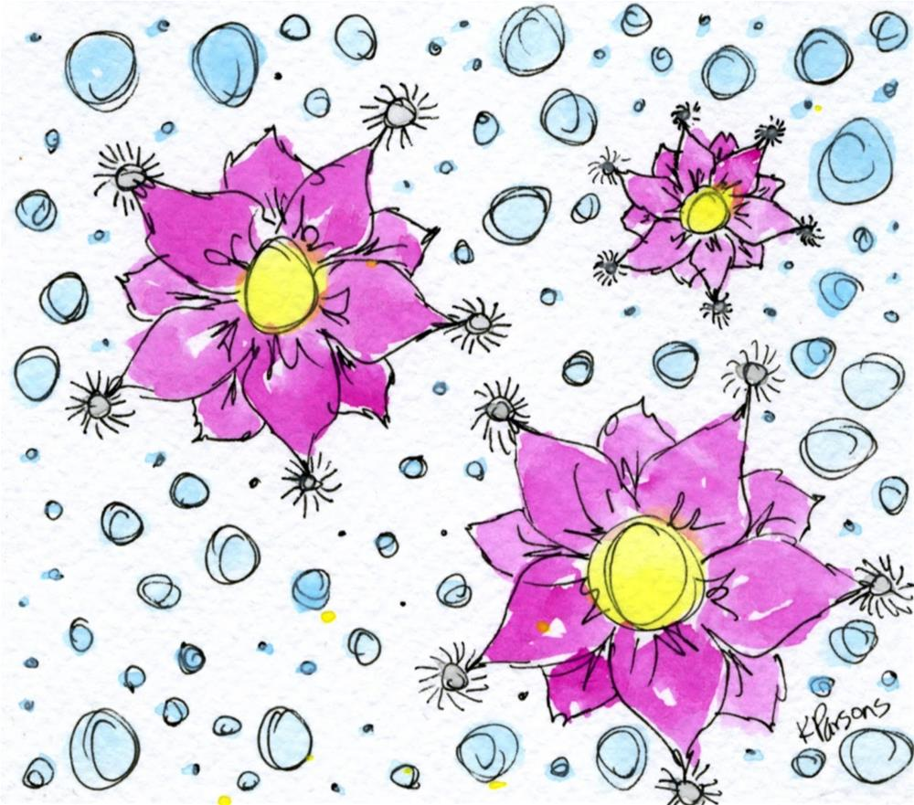 """Flowers and Bubbles"" original fine art by Kali Parsons"