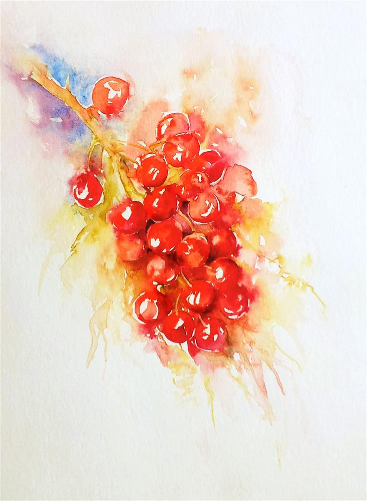 """Red Berries"" original fine art by Arti Chauhan"