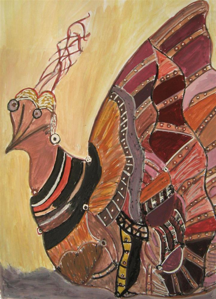 """Colorful Bird"" original fine art by Alina Frent"