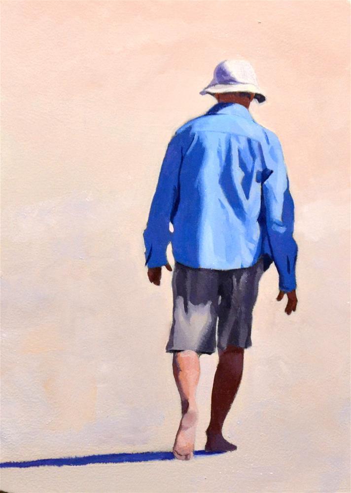 """#364 Blue Shirt on The Beach"" original fine art by Brian Burt"