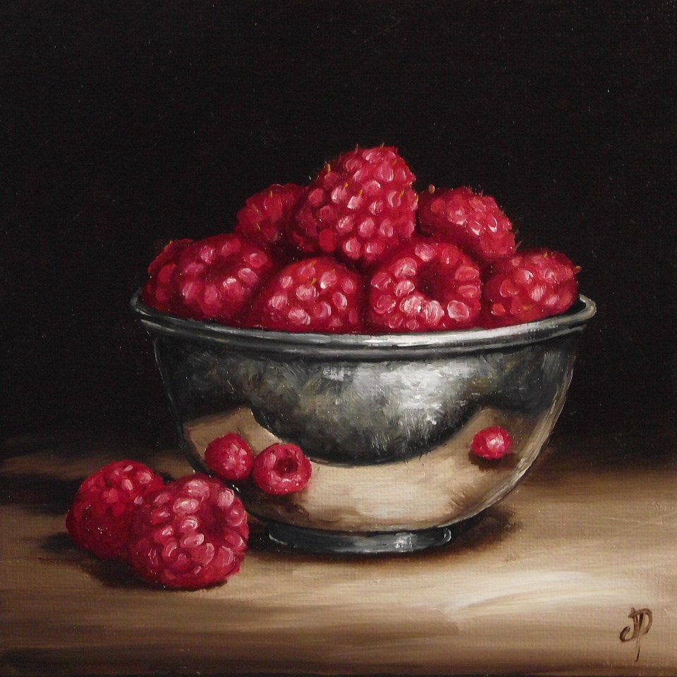 """Raspberries in Silver"" original fine art by Jane Palmer"