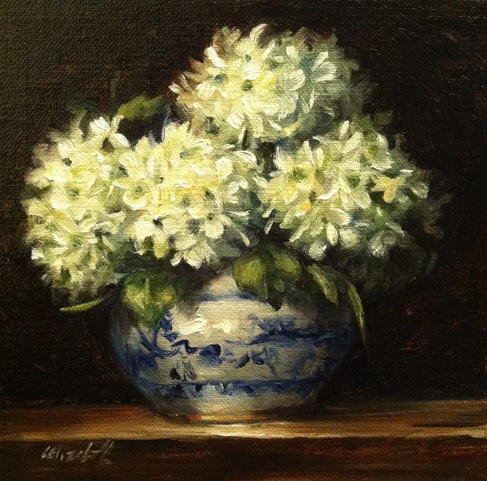 """White Hydrangeas in Blue and White Pottery,  Oil on 6x6 Linen Panel"" original fine art by Carolina Elizabeth"