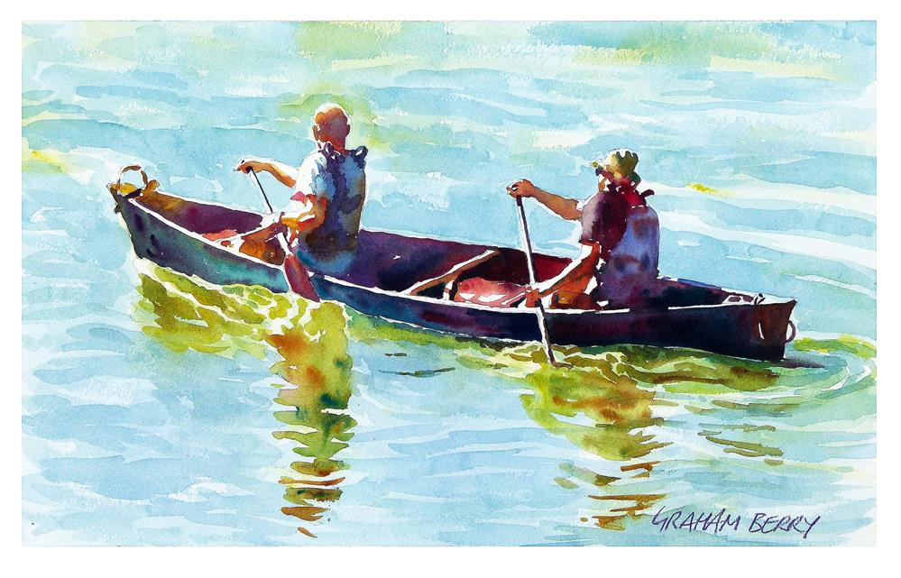 """Men in a canoe"" original fine art by Graham Berry"