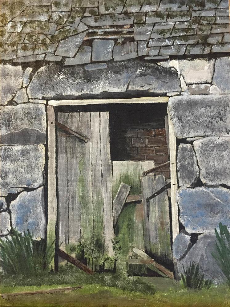 """Stone Shed"" original fine art by Helen Kuhn"