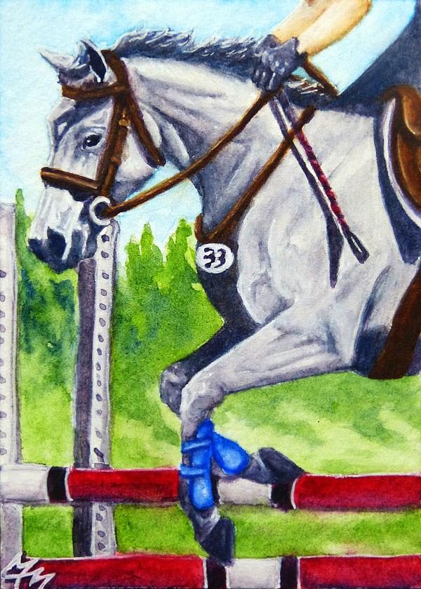 """Jumper Round"" original fine art by Monique Morin Matson"