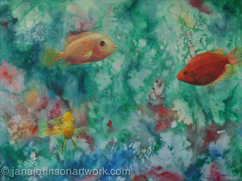 """Fins and Flora"" original fine art by Jana Johnson"