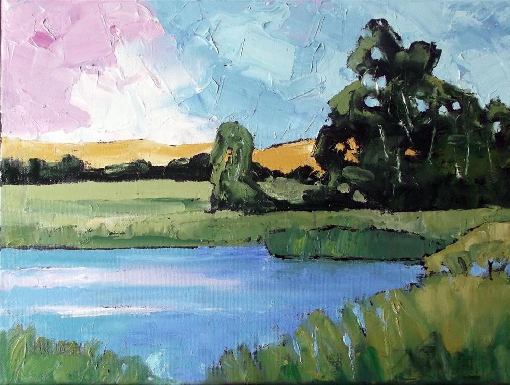 """Meadow Pond"" original fine art by lynne french"