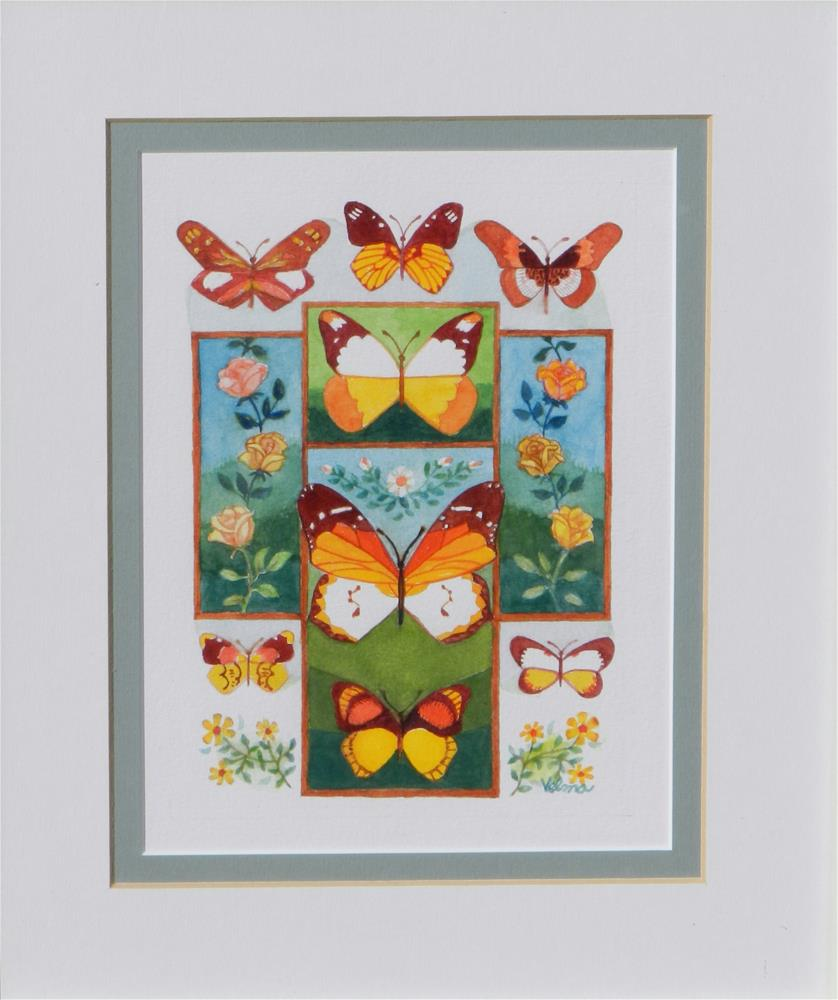 """Cross with Butterflies #1"" original fine art by Velma Davies"
