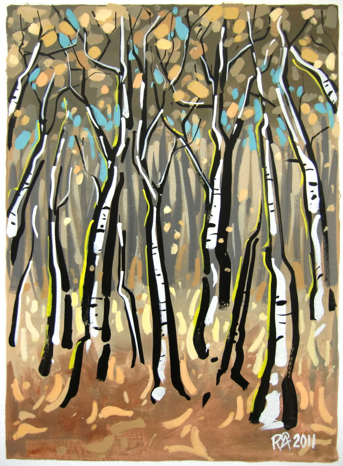 """Birch-trees 1"" original fine art by Roger Akesson"