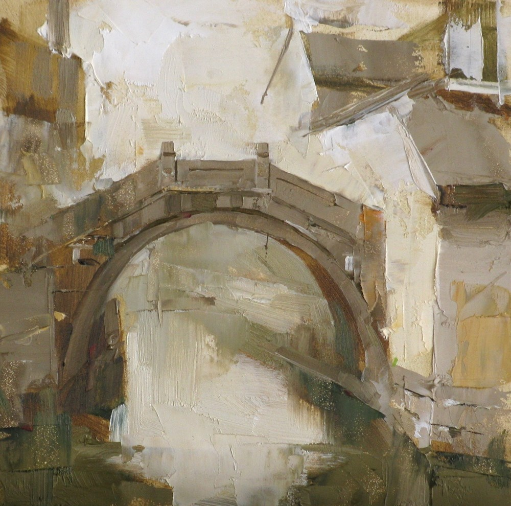 """A Stone Bridge"" original fine art by Qiang Huang"