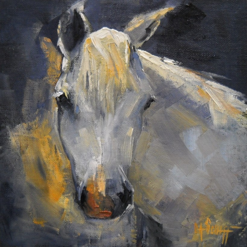 """Horse Portrait, Daily Painting, White Horse by Carol Schiff, 8x8 oil  SOLD"" original fine art by Carol Schiff"
