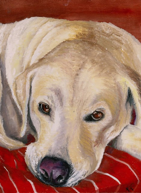 """Snoozing Lab"" original fine art by Karen Robinson"
