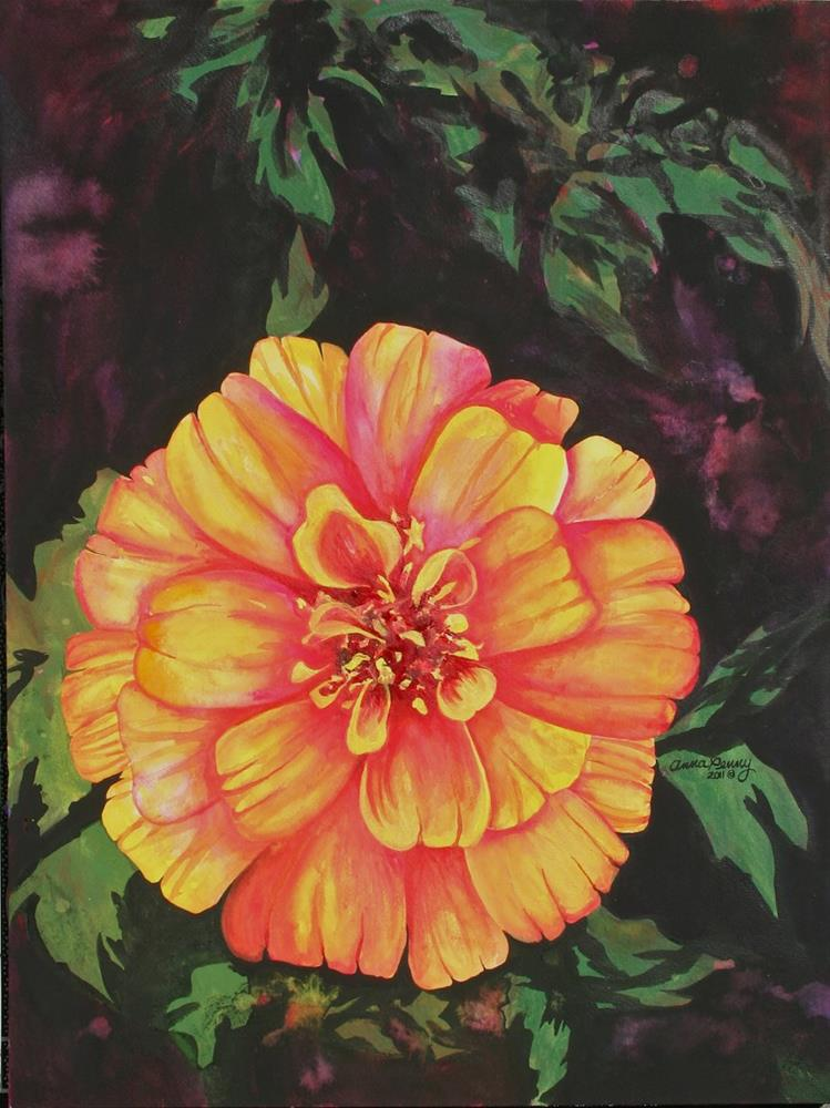"""""""Zinnia in the midst"""" original fine art by Anna Penny"""
