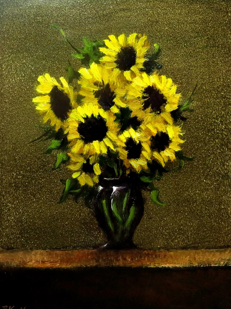 """Sunflowers in a Vase"" original fine art by Bob Kimball"