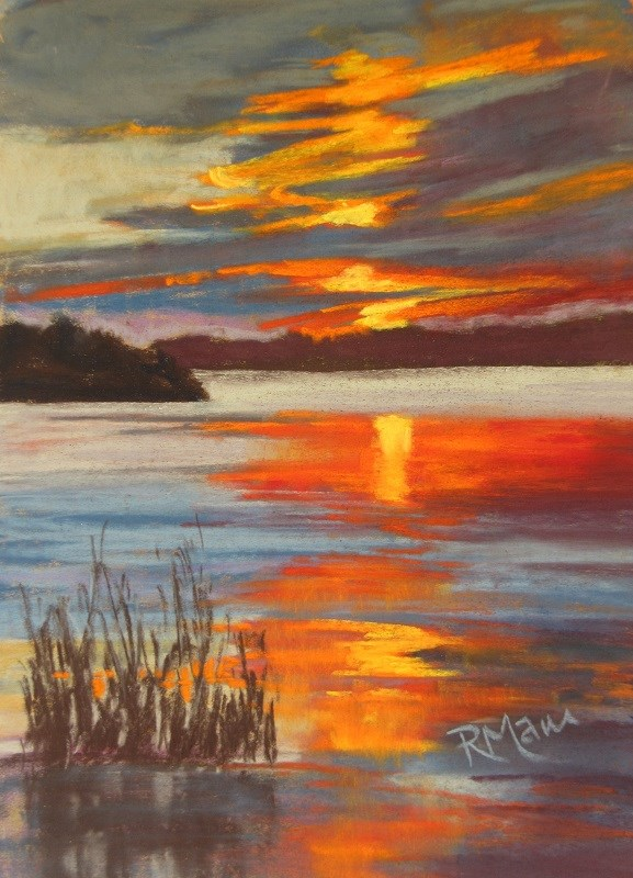"""Ontario Sunset sketch"" original fine art by Ruth Mann"