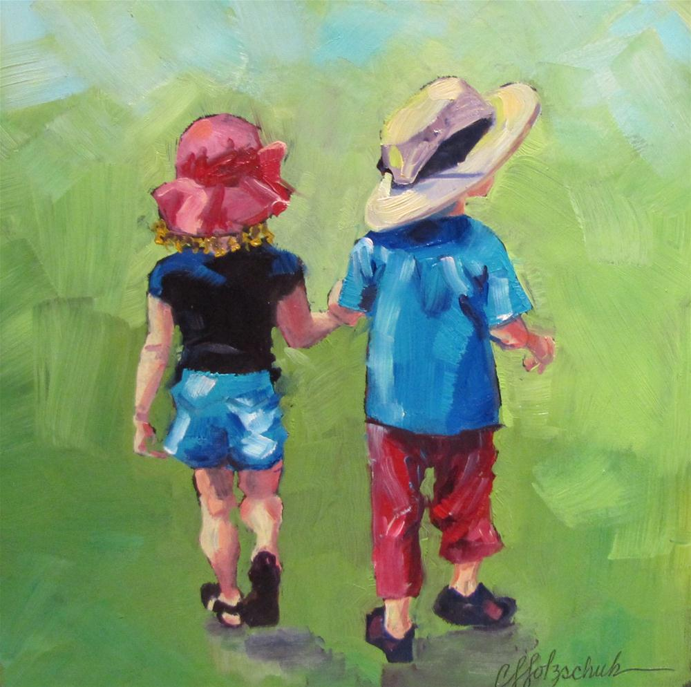 """Hand In Hand  9x9  NFS"" original fine art by Christine Holzschuh"