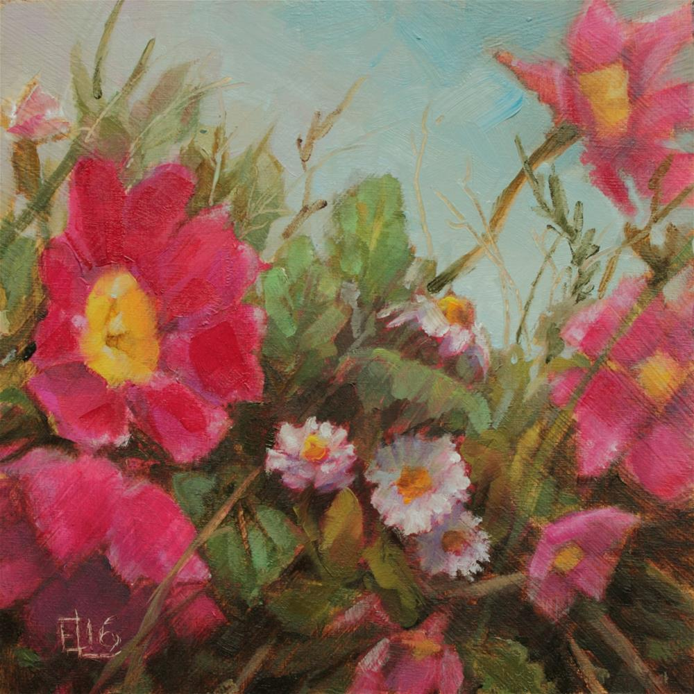 """Daisies And Primroses"" original fine art by Emilia Leinonen"