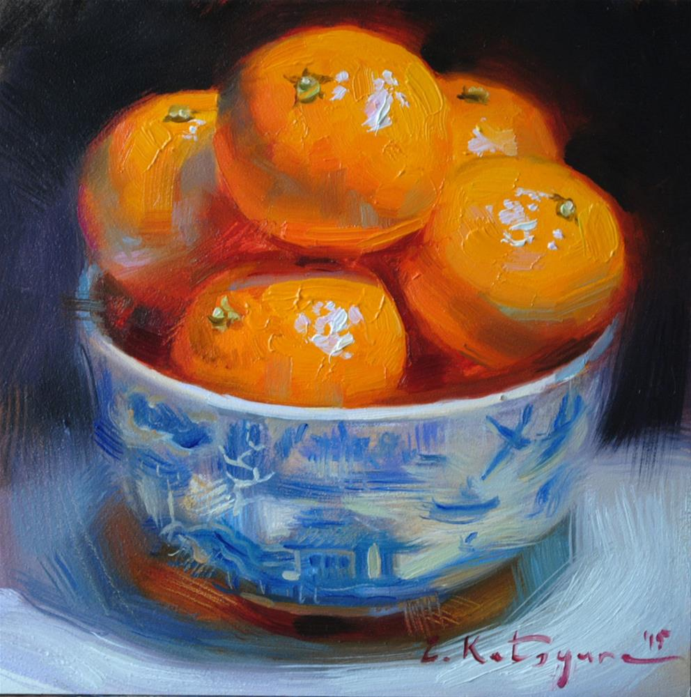 """Blue Bowl of Mandarins"" original fine art by Elena Katsyura"