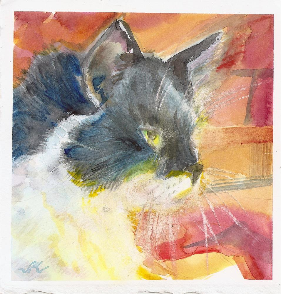 """Fireside Cat"" original fine art by Jean Krueger"