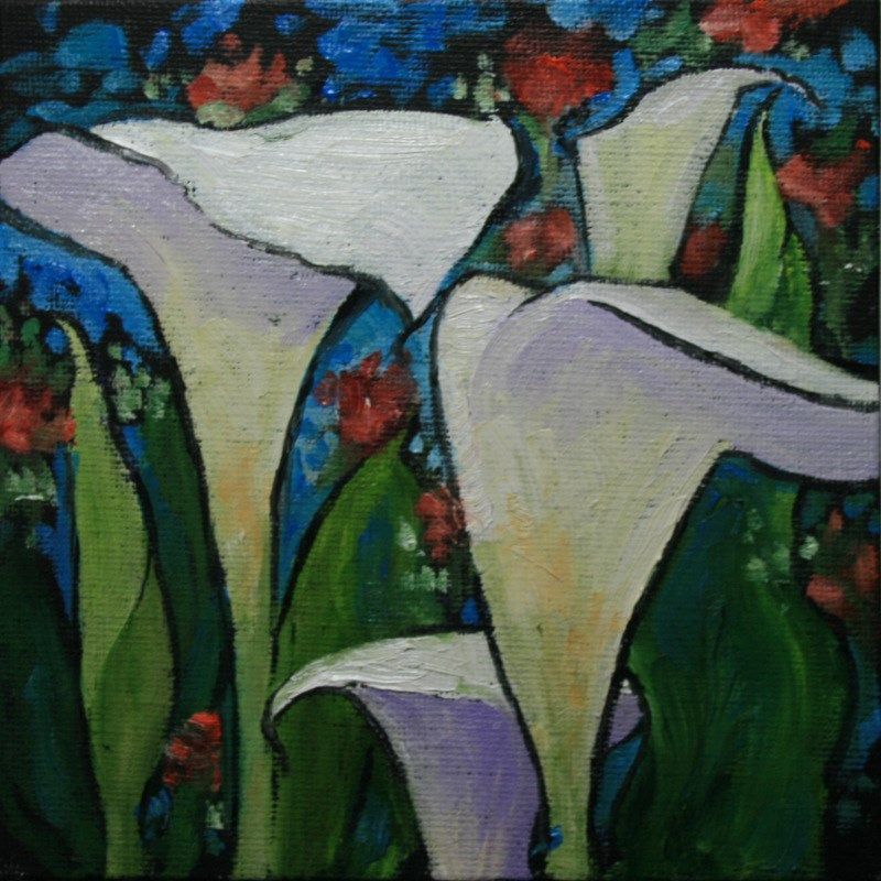 """Calla Lillies"" original fine art by Jean Nelson"