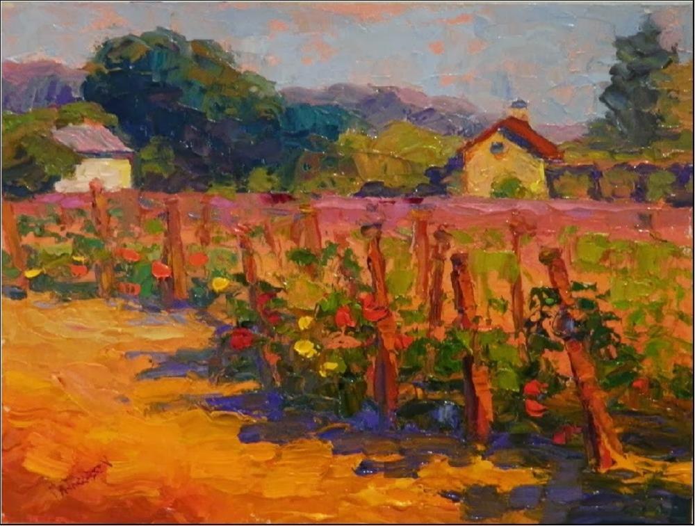 """Napa Morning, 9x12, impasto, palette knife, impressionism, Napa Valley vineyards, California art,"" original fine art by Maryanne Jacobsen"