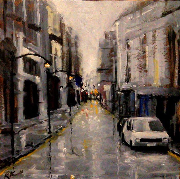 """Downtown"" original fine art by Bob Kimball"