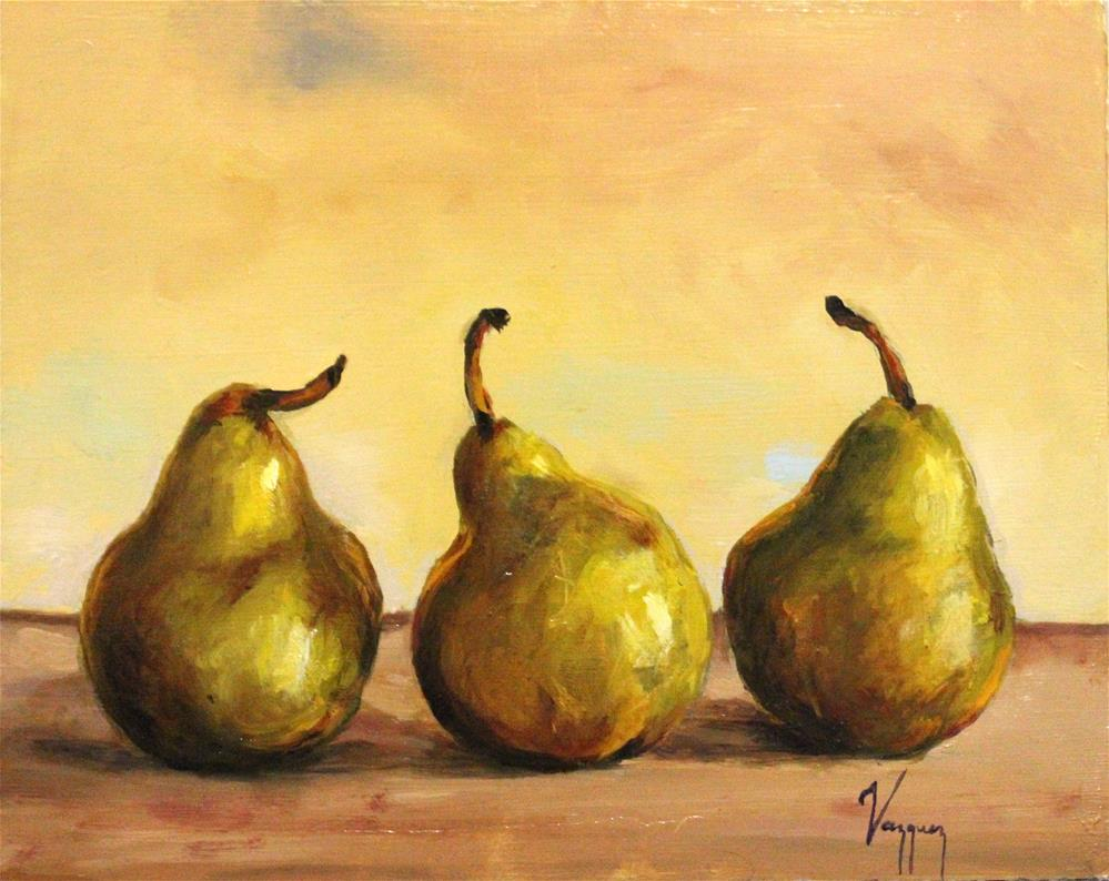 """three pears"" original fine art by Marco Vazquez"