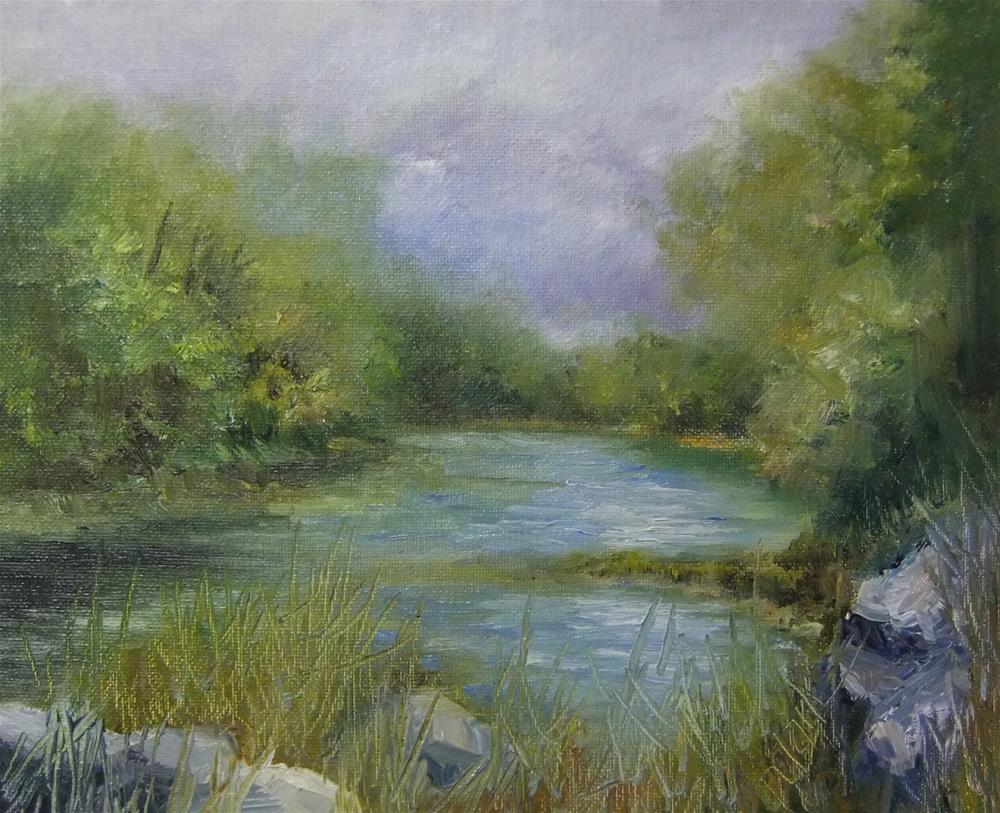 """Bend in the River, 8 x 10 Oil Landscape"" original fine art by Donna Pierce-Clark"