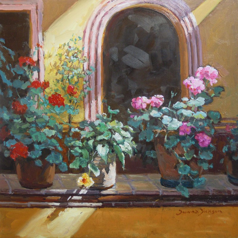 """""""IN THE COURTYARD"""" original fine art by Donna Dickson"""