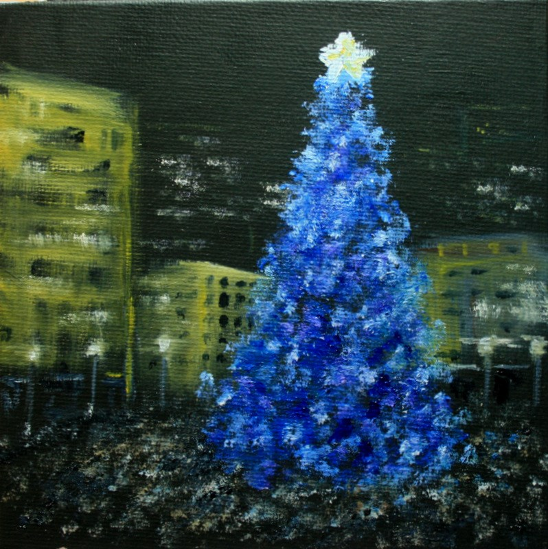 """Tree Lighting at the Square"" original fine art by Jean Nelson"