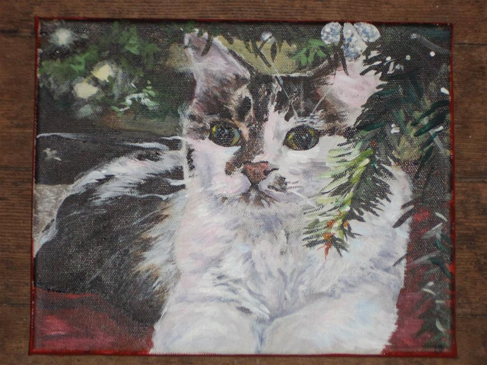 """Kitty Under the Christmas Tree"" original fine art by tara stephanos"