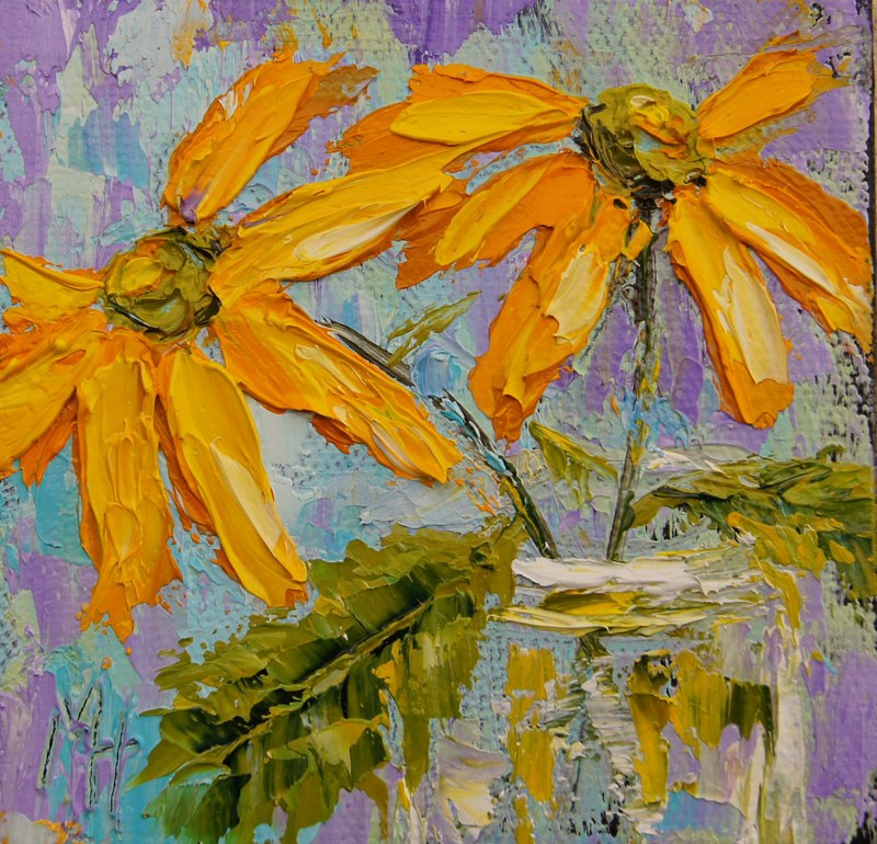 """Yellow Daisies 2"" original fine art by Marion Hedger"