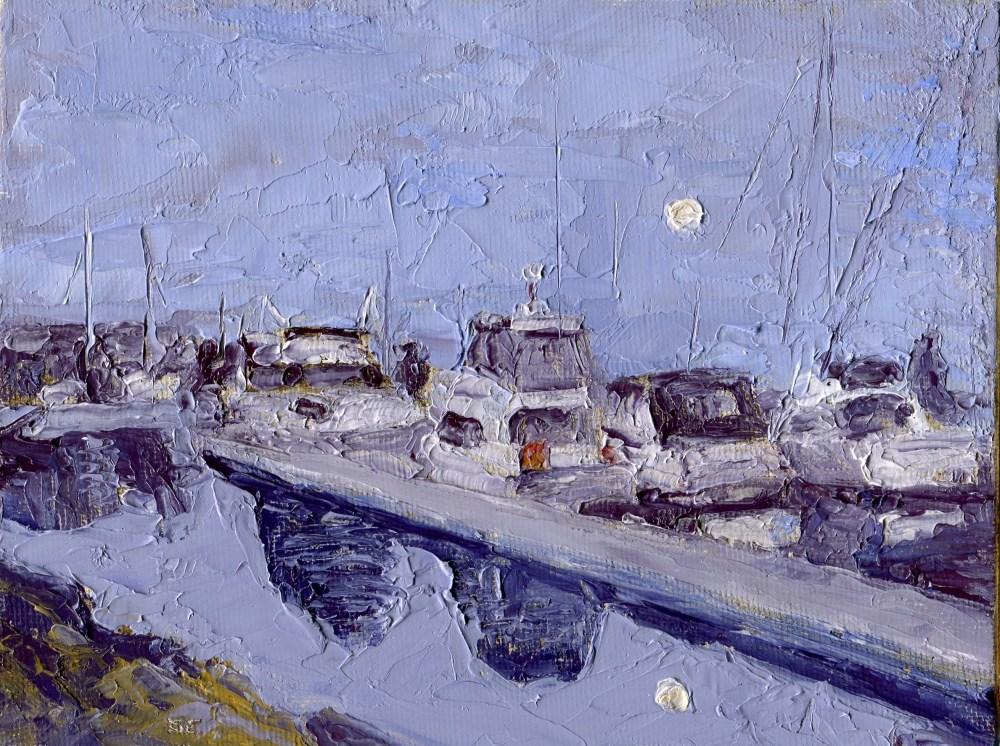 """""""Marina Nocturne"""" original fine art by Stanley Epperson"""