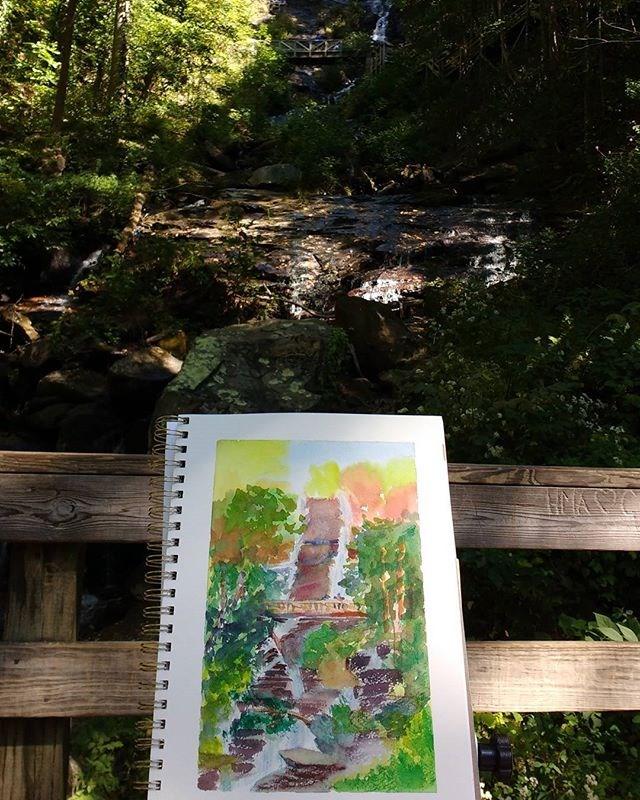 """Study, Amicalola Falls"" original fine art by Maria Peagler"