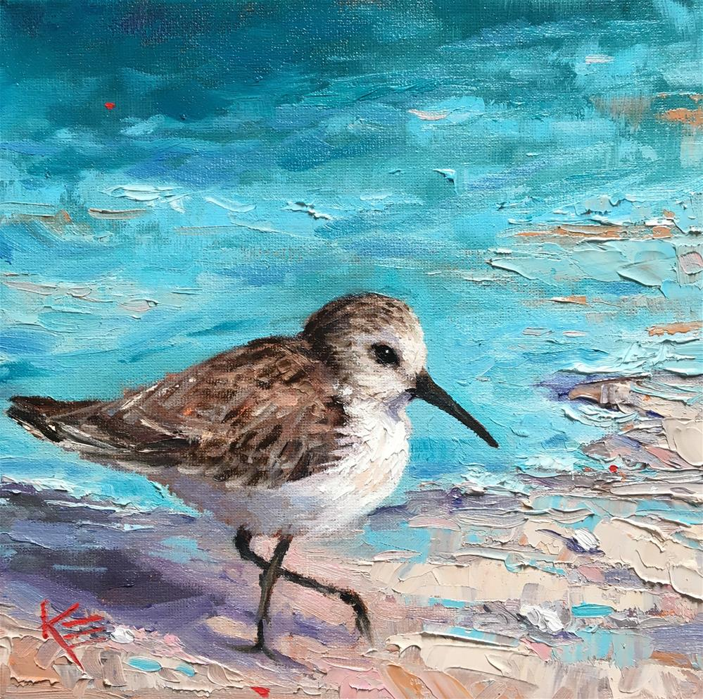 """""""Surf & Sandpiper"""" original fine art by Krista Eaton"""