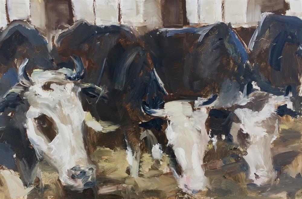 """""""Feeding time"""" original fine art by Philine van der Vegte"""