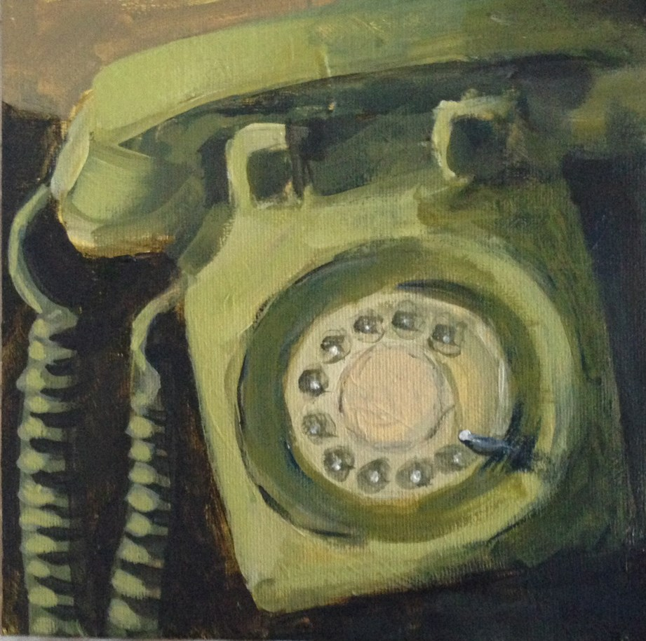 """The Green Phone"" original fine art by Shannon Bauer"