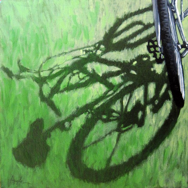 """Go Green bicycle art shadows oil painting"" original fine art by Linda Apple"