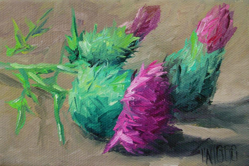 """Thistles 2"" original fine art by Lori Twiggs"